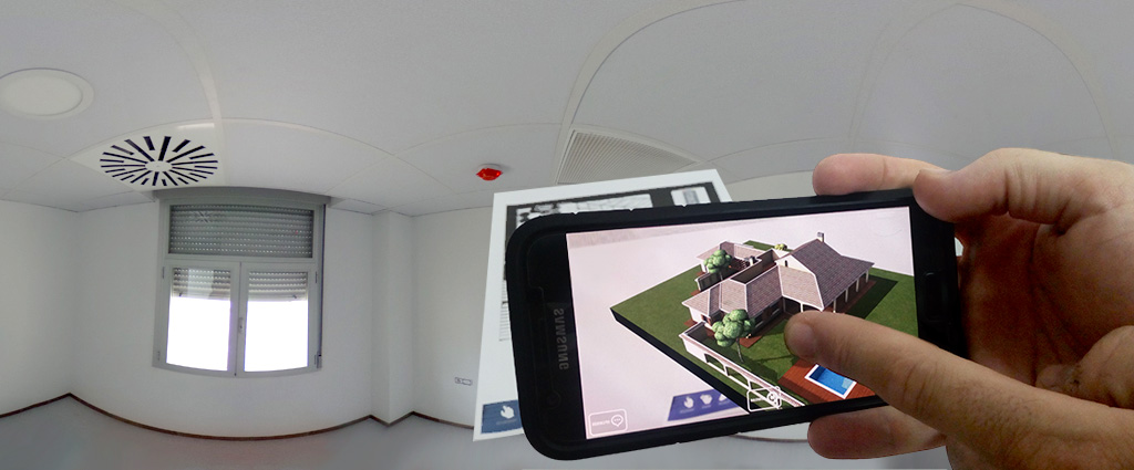 Foto 360º de fondo con realidad aumentada en pantalla de teléfono móvil
